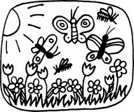 Spring. Flowers and butterflies on meadow in spring. illustration Stock Photos
