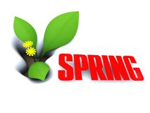 Spring. Abstract 3d illustration of spring sign, symbol, over white snow Stock Photo