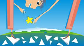 Spring. An illustration of a boy standing on a melting block of ice, picking up a yellow flower in spring Stock Photo