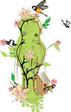 Spring abstract. With bird, butterflies and flowers Royalty Free Stock Images