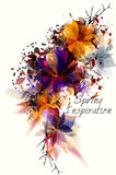 4Spring abstract background with colorful leafs and branches Royalty Free Stock Photos