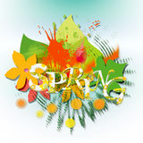 Spring. Abstract background  with decoration and flowers Stock Photography