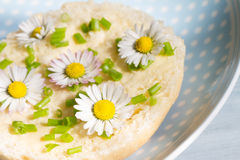 Spring abstract breakfast with sandwich and daisies Stock Photo