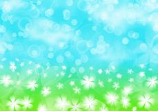 Spring abstract illustration. Spring abstract background - white flower on green grass, sunny blue sky with cloud and bokeh,  illustration Stock Photo