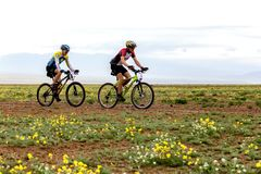 Spring adventure mountain bike competition Royalty Free Stock Images