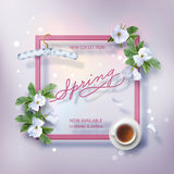 Spring Advertising Banner. Of New Collection. Flyer template with lettering and a frame. Spring white flowers, a cup of tea, hanger and falling petals on Royalty Free Stock Images
