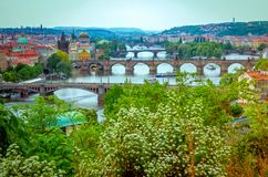 Free Spring Aerial Cityscape Of Prague With Vltava River And Bridges. Stock Photo - 131909620
