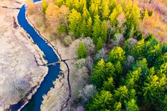 Free Spring Aerial Landscape. Dry Season In Forest Near River Curve. Cold Season Concept Stock Photos - 145048373