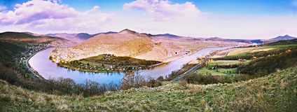 Spring afternoon panorama photo of Elbe River canyon named Porta Bohemica in Ceske stredohori region in czech landscape from Doere Stock Photography