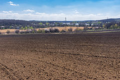 Spring agricultural landscape near Dnepr city, central Ukraine Royalty Free Stock Images