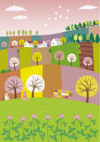 Spring. Agriculture landscape with a beehive and a clover Royalty Free Stock Photo