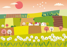 Spring agriculture landscape. Vector illustration of a landscape with small fields Royalty Free Stock Photos