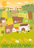 Spring agriculture landscape. Vector illustration of a landscape with small fields and farm animals Stock Photo