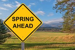 Spring Ahead Caution Sign royalty free stock photos