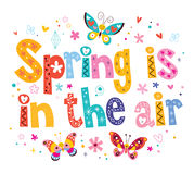 Spring is in the air. Decorative type lettering design stock illustration