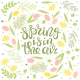 Spring is in the air - floral greeting card with lettering vector royalty free illustration