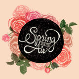SPRING IS IN THE AIR - FLOWERS QUOTE Royalty Free Stock Photography