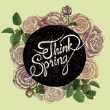SPRING IS IN THE AIR - FLOWERS QUOTE Stock Photos
