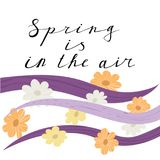 Spring is in the air lettering handwrighting card. With horizontal wave and flowers pattern. Vector illustartion Royalty Free Stock Photos