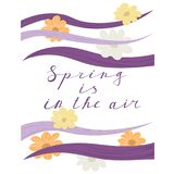 Spring is in the air lettering handwrighting. Card with wave and flowers pattern. Vector illustartion Royalty Free Stock Images