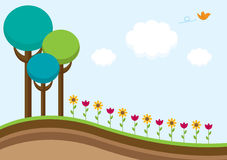 Spring is in the air. Spring scene with trees, flowers and a bird vector illustration