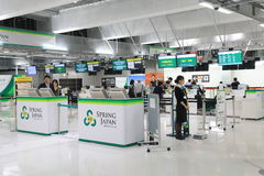 Spring Airline check in counter Narita Airport Japan Royalty Free Stock Images