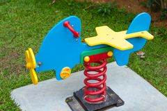 Spring airplane. At playground in a park Stock Images
