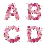 Spring alphabet with cherry flowers ABCD Stock Photography