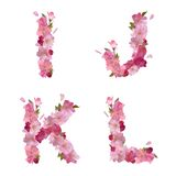 Spring alphabet with cherry flowers IJKL Stock Images