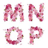Spring alphabet with cherry flowers MNOP Stock Images