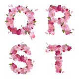 Spring alphabet with cherry flowers QRST Stock Photography