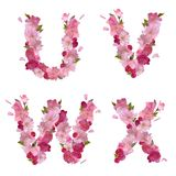 Spring alphabet with cherry flowers UVWX Royalty Free Stock Images