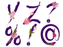 Spring alphabet with flowers letters Y,Z and signs Royalty Free Stock Photography