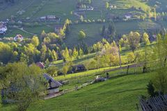 Spring alpine landscape with green fields, Magura village Stock Photos