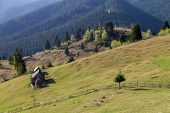 Spring alpine landscape with green fields in Transylvania, Romania Stock Image