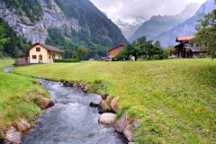 Spring Alps, Switzerland. Swiss Alps, on begin of spring. Grindelwald Stock Photos
