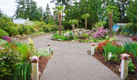 Spring American Northwest home landscape garden. Royalty Free Stock Image