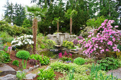 Spring American Northwest home landscape garden. Stock Photo
