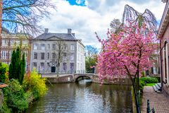 Spring in Amersfoort. View of the canals in the dutch city Amersfoort Stock Photo