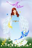 Spring angel. Composition with a woman angel on spring meadow Royalty Free Stock Photos
