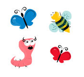 Spring animals. Pink worm, bee and red and blue butterfly Stock Photo