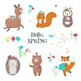 Cute funny spring animals vector isolated illustration stock illustration