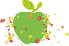 Spring of aplle. Raster version of vector image of a blooming sprig of apple stock illustration