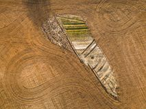 Spring arable land. Field and beautiful patterns from the tractor. View from above.n. Spring arable land.  View from above. Field and beautiful patterns from the Stock Image