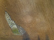Spring arable land. Field and beautiful patterns from the tractor. View from above.n. Spring arable land.  View from above. Field and beautiful patterns from the Stock Photography