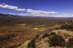 A spring Arizona landscape. With white clouds and bright blue skies royalty free stock photo