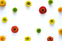 Frame With Colorful Flowers On White Background Royalty Free Stock Photography