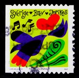 Spring atmosphere, Feast days and celebrations serie, circa 2007. MOSCOW, RUSSIA - OCTOBER 3, 2017: A stamp printed in Sweden shows Spring atmosphere, Feast days Stock Image