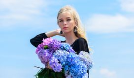 Spring attributes. Enjoy spring without allergy. Allergy free life. Stop allergy blooming season. Springtime bloom. Female adore flowers. Girl tender blonde stock photo