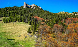 Spring and autumn colors. Bratocei Rocks, Sphinx Rocks, Fangs Rocks, Ciucas mountains, Romania. 1720m royalty free stock photography